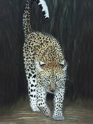 Art Print featuring the painting Leopard by Karen Zuk Rosenblatt