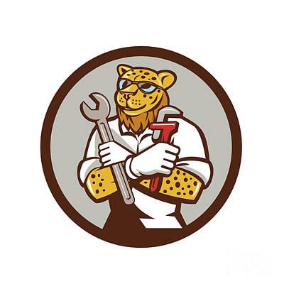 Cheetah Digital Art - Leopard Mechanic Spanner Monkey Wrench Circle Cartoon by Aloysius Patrimonio