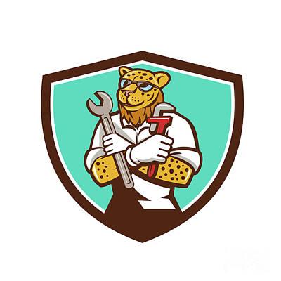 Cheetah Digital Art - Leopard Mechanic Spanner Monkey Wrench Crest Cartoon by Aloysius Patrimonio