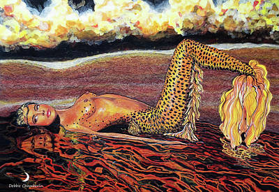 Mermaid Painting - Leopard Mermaid by Debbie Chamberlin