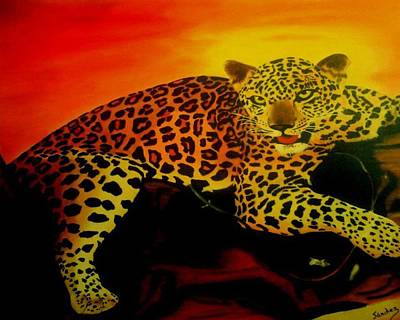 Painting - Leopard On A Tree by Manuel Sanchez