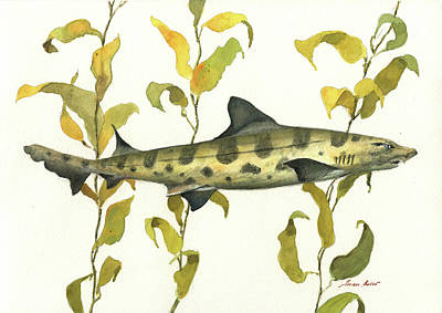Leopard Wall Art - Painting - Leopard Shark by Juan Bosco