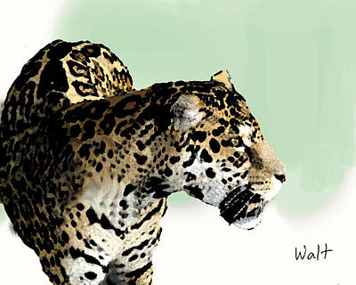 Print featuring the digital art Leopard by Walter Chamberlain