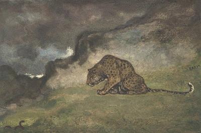 Drawing - Leopard Watching Serpent by Antoine-Louis Barye
