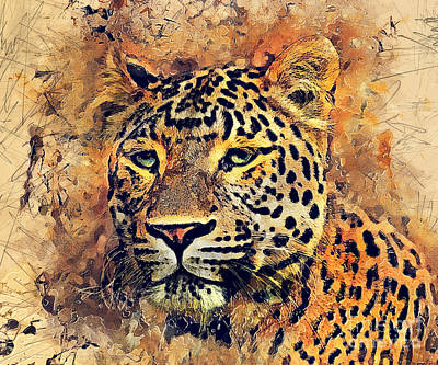 Animal Painting - Leopard Watercolor by Justyna JBJart