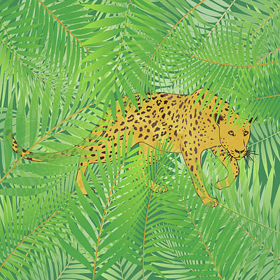 Figurativ Mixed Media - Leopard With Tropical Leaves by Mari Biro