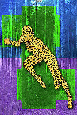Digital Art - Leopard Woman by John Haldane
