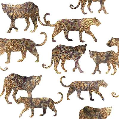 Printmaking Digital Art - Leopards by Varpu Kronholm