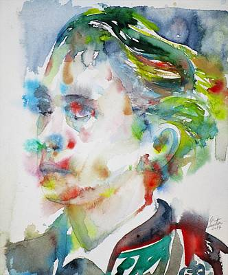 Painting - Leopold Von Sacher-masoch - Watercolor Portrait by Fabrizio Cassetta
