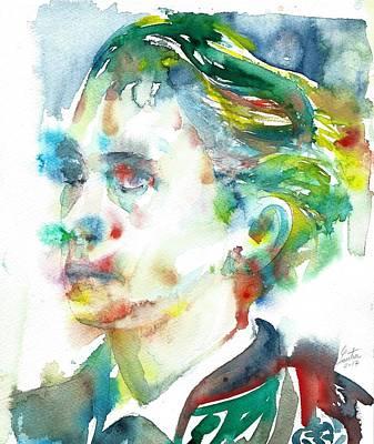 Painting - Leopold Von Sacher-masoch - Watercolor Portrait by Fabrizio Cassetta