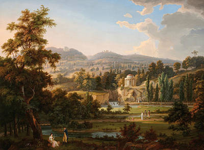Painting - Leopoldine Temple With Pond by Albert Christoph Dies