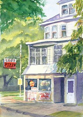 Corner Cafe Painting - Leo's Pizza by Robert Haeussler