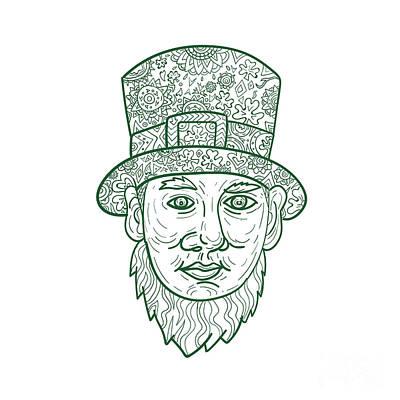 Irish Folklore Digital Art - Leprechaun Head Front Mandala by Aloysius Patrimonio