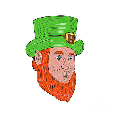 Leprechaun Digital Art - Leprechaun Head Three Quarter View Drawing by Aloysius Patrimonio