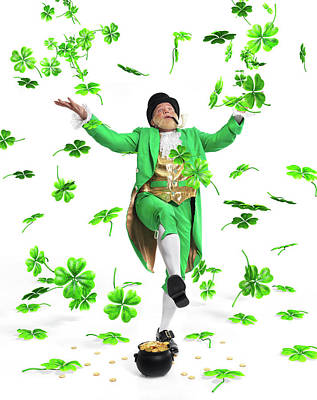 Leprechaun Tossing Shamrock Leaves Up In The Air Print by Oleksiy Maksymenko