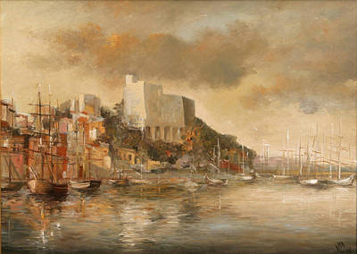 Reflections Of Sun In Water Painting - Lerici Castle by Vali Irina Ciobanu