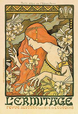 Mixed Media Royalty Free Images - LErmitage - Alphonse Mucha - Art Nouveau Poster Royalty-Free Image by Studio Grafiikka