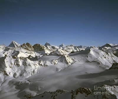 Verbier Photograph - Les Alps Valaisannes Dent D Herensright Matterhorn  Centre Obergabelhorn Left Verbier Switzerland by Michael Walters
