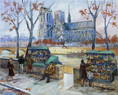 Paris Painting - Les Bouquinistes, Seine, Paris by Irek Szelag
