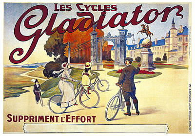 Mixed Media - Les Cycles Gladiator - Bicycles - Vintage French Advertising Poster by Studio Grafiikka