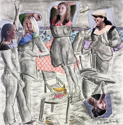 Les Demoiselles Of Santa Cruz V8 Art Print by Susan Cafarelli Burke