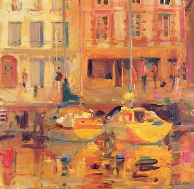 Warm Tones Painting - Les Deux Bateaux by Peter Graham