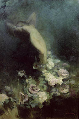 Naked Lady Painting - Les Fleurs Du Sommeil by Achille Theodore Cesbron