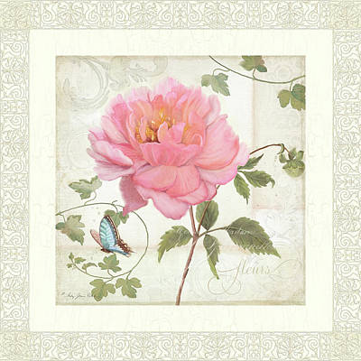 Handwriting Painting - Les Fleurs Magnifiques II - Pink Peony W Vines N Butterfly  by Audrey Jeanne Roberts