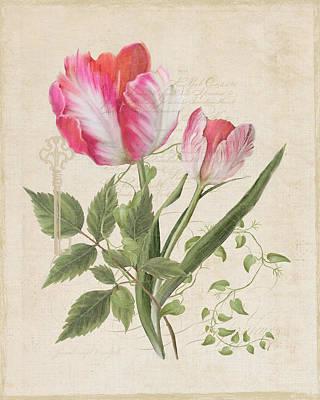 Hand Painted Painting - Les Fleurs Magnifiques Sur Parchemin - Parrot Tulips Vintage Style by Audrey Jeanne Roberts