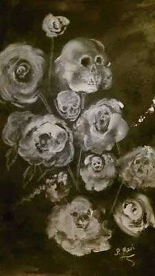 Rose And Skull Painting - Les Fluers Du Mal by Paula marie Deubel