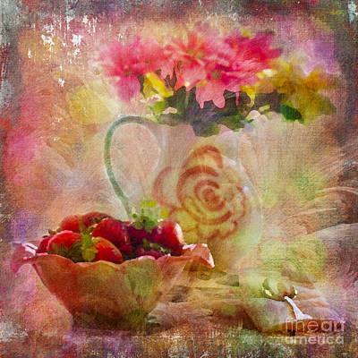 Strawberries Digital Art - Les Fraises Et Les Fleurs 2015 by Kathryn Strick