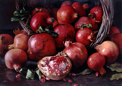 Pomegranate Painting - Les Grandes Grenades by Kira Weber