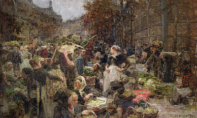 Traders Painting - Les Halles by Leon Augustin Lhermitte
