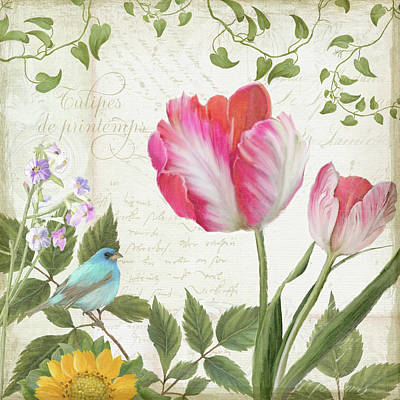 Les Magnifiques Fleurs IIi - Magnificent Garden Flowers Parrot Tulips N Indigo Bunting Songbird Art Print by Audrey Jeanne Roberts