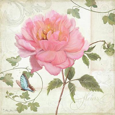 Les Magnifiques Fleurs Iv - Magnificent Garden Flowers Pink Peony N Blue Butterfly Art Print by Audrey Jeanne Roberts