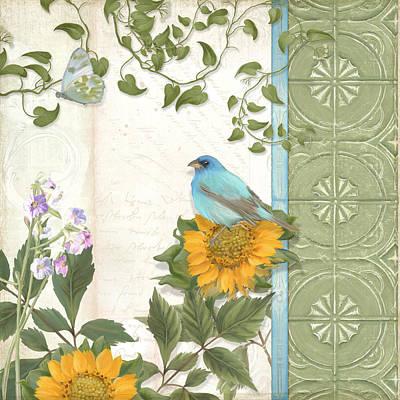 Bunting Painting - Les Magnifiques Fleurs Iv - Secret Garden by Audrey Jeanne Roberts
