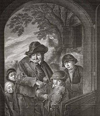 Violin Drawing - Les Musiciens Ambulants By Adriaen Van by Vintage Design Pics