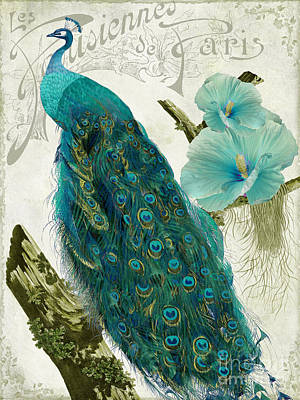 Peacock Painting - Les Paons by Mindy Sommers