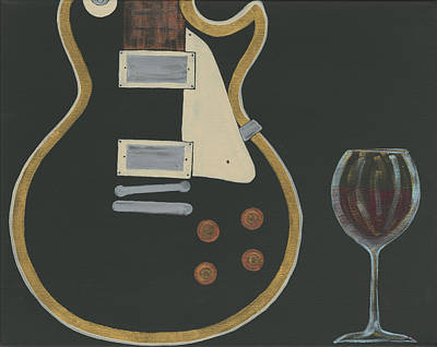 Les Paul Guitar With Wine Original by Helen Prater