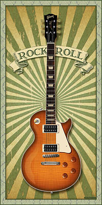Digital Art - Les Paul Rock And Roll by WB Johnston