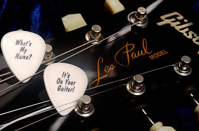 Photograph - Les Paul's Guitar Pick On Gibson Headstock By Gene Martin by David Smith