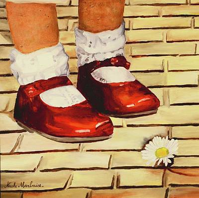 Marguerite Flowers Painting - Les Petits Souliers Rouges by Nicole MARBAISE