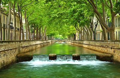 Fontaine Photograph - Les Quais De La Fontaine Nimes by Scott Carruthers