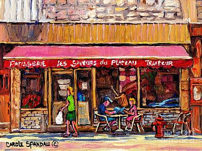 Painting - Les Saveurs Du Plateau Breakfast At The Patisserie Rue Laurier Paris Style Cafe Art Carole Spandau by Carole Spandau