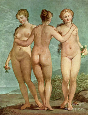 Painting - Les Trois Graces  The Three Graces by Giovanni Antonio Pellegrini