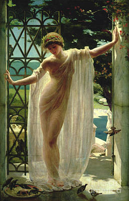 Woman Painting - Lesbia by John Reinhard Weguelin