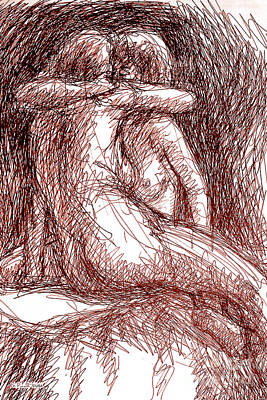 Drawing - Lesbian Sketches 1b by Gordon Punt