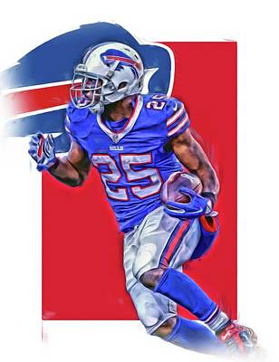 Team Mixed Media - Lesean Mccoy Buffalo Bills Oil Art by Joe Hamilton