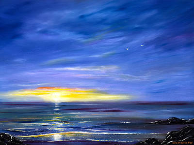 Painting - Less Drama - Blue Sunset by Gina De Gorna