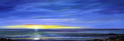 Painting - Less Drama Panoramic Sunset by Gina De Gorna